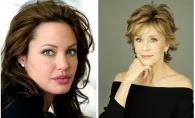 Angelina Jolie are 38 de ani, iar Jane Fonda - 76: Cine arata mai bine in acelasi model de rochie - FOTO