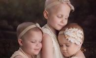 S-au pozat asa acum 3 ani, cand erau bolnave de cancer. Proaspat vindecate, au refacut pictorialul. Cum arata micutele - FOTO