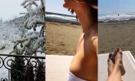 In timp ce la noi e zapada, ea se relaxeaza pe sezlong la soare. Cine e fericita vedeta care se odihneste intr-un loc exotic acum - FOTO