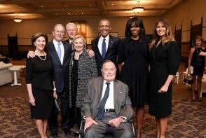 Fostii presedinti americani, prezenti la inmormantarea Barbarei Bush. Melania a sosit fara Donald Trump - FOTO