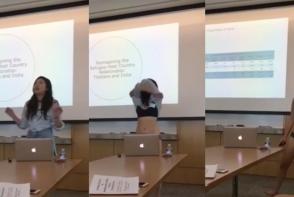 O studenta si-a sustinut teza in lenjerie intima. Tanara s-a dezbracat in fata clasei dupa ce un profesor a criticat-o dur - FOTO