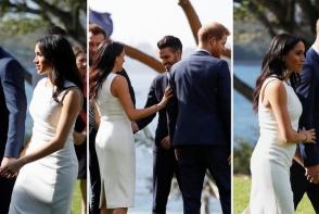 Meghan Markle si-a expus burtica de gravida intr-o rochie de 1800 de dolari. Iata cum arata Ducesa de Sussex la prima aparitie oficiala - FOTO