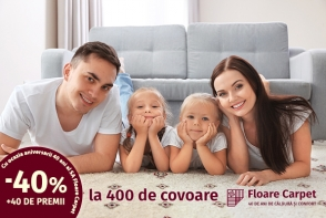 Floare-Carpet SA ofera 400 de covoare cu o reducere speciala de 40% la implinirea celor 40 de ani