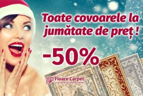 Toate covoarele la jumatate de pret! Bucura-te de magia sarbatorilor de iarna impreuna cu Floare-Carpet!